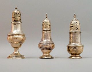 Group of 3 English Sterling Silver Pepper Casters