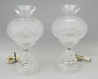 Pair of Waterford Crystal Hurricane Style Lamps