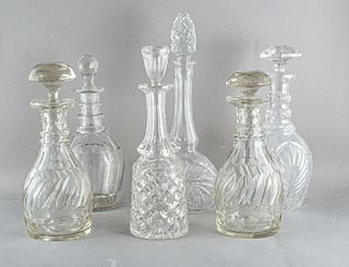 Lot of 6 cut glass decanters