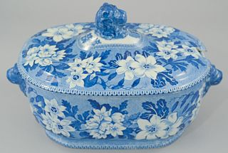 Large Staffordshire Blue and White Tureen