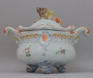 Antique Figural Faience Pottery Tureen