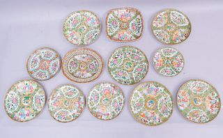 Lot of 12 Antique Rose Medallion Table Articles