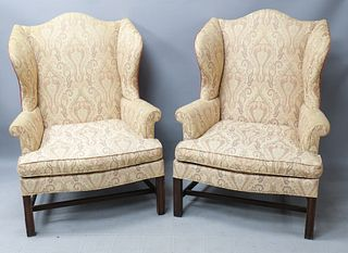 Pair of Kittenger Chippendale Style Wing Chairs