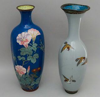 2 Exemplary Japanese Cloisonne Vases