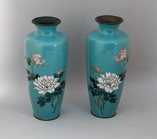Pair of Ando Jubei Cloisonne Vases