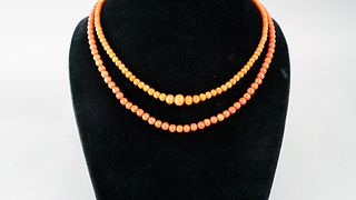 Lot of Two Antique Coral Bead Necklaces