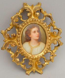 Italian Painted Porcelain Portrait Plaque