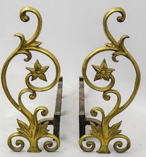20th Century Bronze Flower Form Andirons