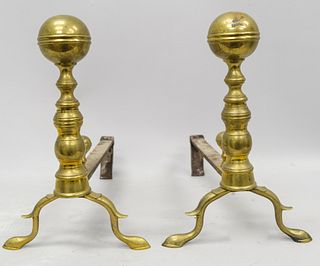 18th Century Brass Ball-top Chippendale Andirons