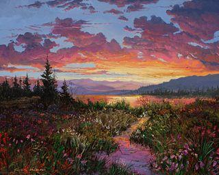 Thomas deDecker (American, b. 1951) Peaceful Evening- Sunset