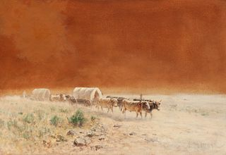 Harvey Otis Young (American, 1840-1901) Wagon Train