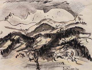 Boardman Robinson (American, 1876 - 1952) Mountain Crags, 1941