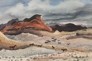 Adolf Dehn (American, 1895-1968) Western Horses, 1940