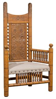 20th Century Artisan Turned and Carved Oak Chair