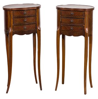 French Mahogany Marquetry Side Tables