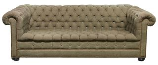 Chesterfield Style Tufted Upholstered Sofa