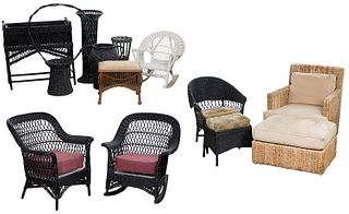 Wicker Furniture and Planter Assortment