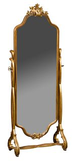 Gilt and Painted Wood Cheval Mirror