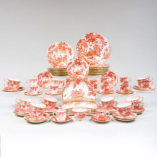 Royal Crown Derby Porcelain Dinner Service in the 'Red Aves' Pattern