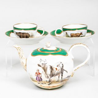 Meissen Outside Decorated Three-Piece Porcelain Tea Service