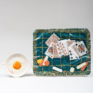 Luneville-Keller & Guerin Glazed Pottery Trompe L'Oeil Desk Ornament and a French Porcelain Trompe L'Oeil Fried Egg in a Dish
