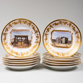 Set of Twelve Paris Porcelain Plates Decorated with Scenes of Europe