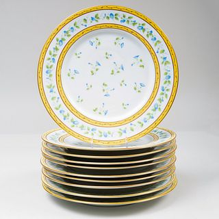 Ten Raynaud Limoges Transfer Printed Porcelain Plates in the 'Morning Glory' Pattern