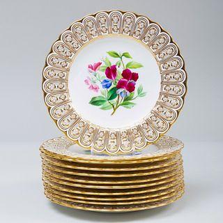Set of Eleven Minton Porcelain Dessert Plates