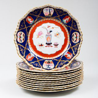 Set of Twelve Mason's Ironstone Blue Ground Dinner Plates