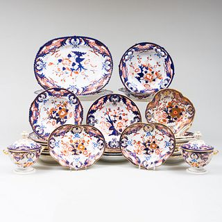 Assembled Royal Crown Derby and Bloor Derby Porcelain Part Dinner Service in the 'Kings' Pattern