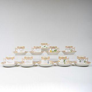 Set of Ten Royal Copenhagen Porcelain 'Flora Danica' Coffee Cans and Saucers