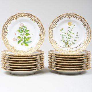 Set of Eighteen Royal Copenhagen Porcelain 'Flora Danica' Dessert Plates