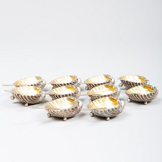 Set of Ten Italian Silver Shell Form Salt Cellars and Spoons