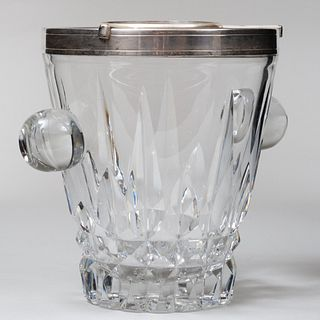 Continental Silver-Mounted Cut Glass Wine Cooler