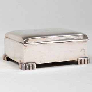 Poole Silver Holiday Cigarette Box Inscribed from Frank Sinatra and Mia Farrow