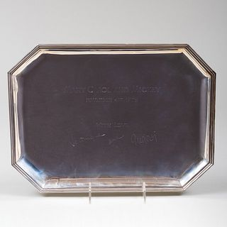 Cartier Silver Wedding Tray Inscribed from Gregory and Veronique Peck