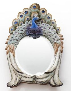 Continental Paint Decorated Ceramic Peacock Mirror