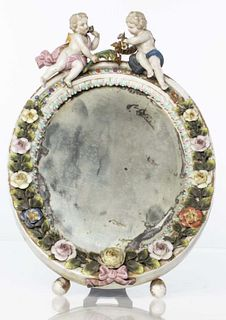 German Porcelain Table Top Mirror