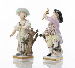 Meissen Porcelain Figural Sculptures, Pair