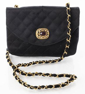 Chanel Black Quilted Satin Handbag