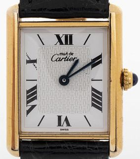 Vintage Must De Cartier Vermeil Tank Ladies Watch