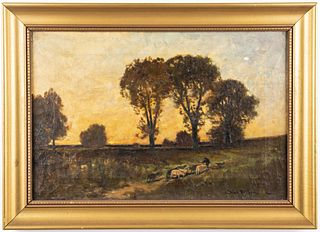 Charles Volkmar Shepherd W Flock Oil on Canvas