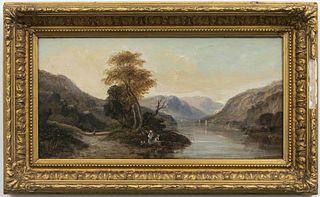 """John Westall """"Figures in Landscape"""" Oil on Board"""