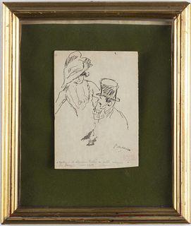 Jules Pascin Figural Ink Drawing, 1908