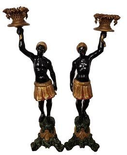Venetian Rococo Style Polychrome Blackamoors, Pr