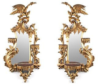 George III Style Chinoiserie Giltwood Mirrors, Pr
