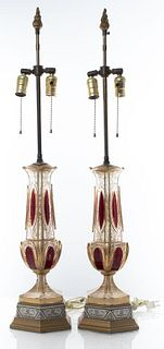 Bohemian Czech Crystal Table Lamps, Pair