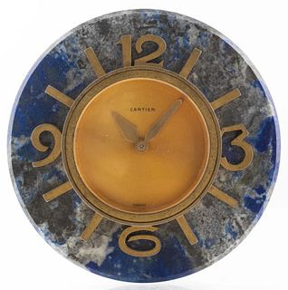 Cartier Lapis Lazuli & Gilt Metal Desk Clock