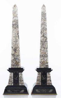 Egyptian Revival Marble Obelisks, Pair
