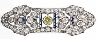 Art Deco Platinum Yellow Diamond & Sapphire Brooch